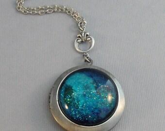 Blue Nile,Locket,Silver,Turquoise,Blue,Galaxy Necklace,Galaxy Locket,Blue Necklace,Blue Stone,Star Locket,Star Necklace valleygirldesigns.