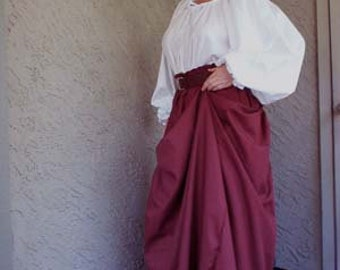 Handmade Womens Cotton Panel Skirt in Your Color for SCA, Larp, Ren Faire