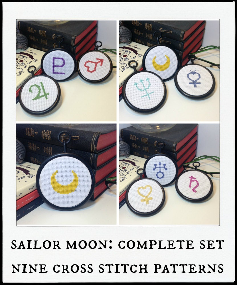 Nine 9 sailor moon cross stitch patterns inner and outer zoom biocorpaavc Images