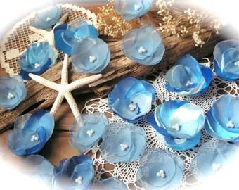 Beach Wedding  Blue Flowers  Blue Wedding ,Centerpiece Wedding Decor Set of 21.