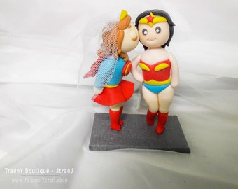 Lesbian Wedding Cake Toppers Superwoman and Wonder Woman with Stand/Customizable, les wedding cake topper