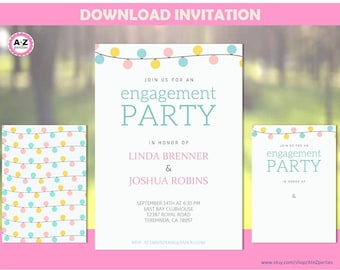 Engagement Party Invitation, Couples Shower, Lanterns, Editable Party Invitation, Mr. and Mrs., Edit with Adobe Reader, Blank Template too