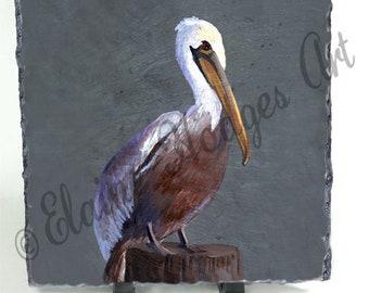 Brown Pelican on Slate from Original Artwork