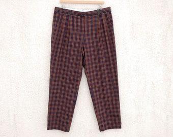 Vintage Red Plaid Men's Pants Tartan Plaid Pants Mens Red and Navy Blue Pants Size Large