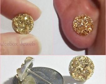 Gold Faux Druzy, Fool's Gold Round Post Stud, 12 mm Pierced Sparkle Earrings,Trendy,Lead,Nickel & Cadmium Free  V539