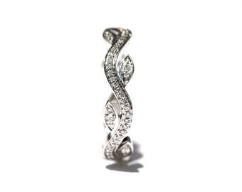 Leaf Eternity WEDDING BAND no Milgrain - Flower - Diamond -  Vine - Right Hand  Ring - 18K white gold   - fL07