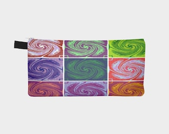 Color Block Swirls on Pencil Case Men's Toiletry Case Ladies Make-Up Pouch Carry All Case Perfect Gift Idea