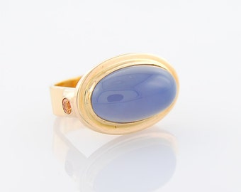 Blue Chalcedony and faceted Spessartine Garnet Ring in 14K Yellow Gold Organge Garnet, Chalcedony Statement Ring Fine Handmade Jewelry