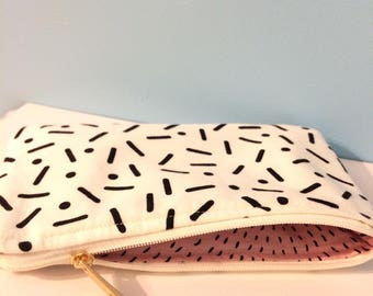 Printed Cotton Spots and Stripes Zippered Pouch