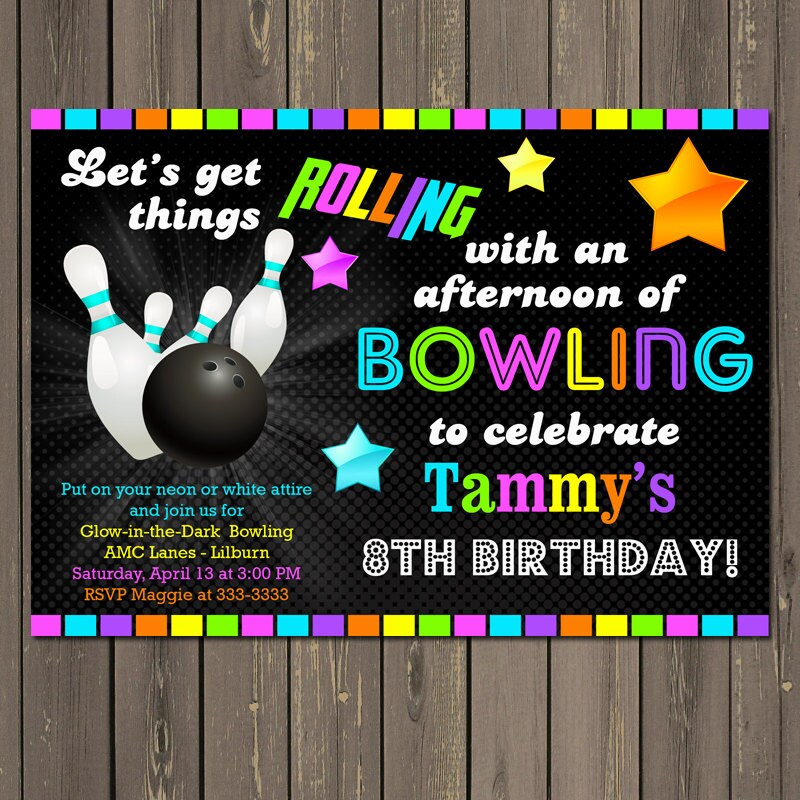 Bowling Glow in the Dark Neon Birthday Party Invitation