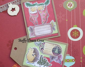 Lot 2 cards great labels Christmas mouse and Hedgehog red green