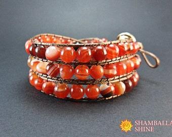 Wrap gemstone bracelet Boho style jewelry Women carnelian bracelet Meditation wrap bracelet Orange woven bracelet Wrap triple bracelet
