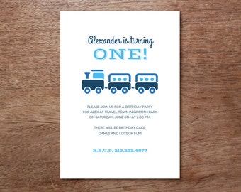 Blue Train - Kids Birthday Party Invitation Template - Choo Choo Train Party Invite - Instant Download Children's  Party Invitation - Blue