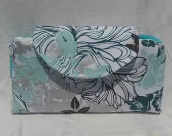Women's wallet, mint, silver, floral, flowers, credit card slots, zipper pocket