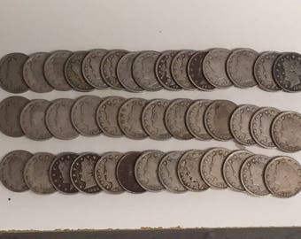 "ROLL(40) BETTER Grade Liberty ""V"" Nickels Partial to Full ""LIBERTY"""