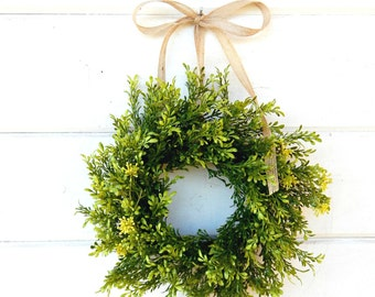 MINI Window Wreath-Tea Leaf Wreath-Mini Farmhouse Wreath-Country Cottage Wreath-Small Wreath-Wall Hanging-Small Wreath-Custom Made Gifts
