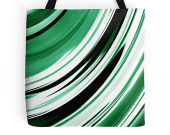 Green Tote Bag, Green Purse, Green Stripe Tote, Green Abstract Bag, Green White Black Bag, Green Tote, Green Accessories, Green White Bag