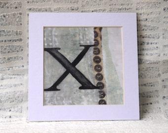 Letter X Monogram, Boho, Shabby Chic Style: Encaustic Art Matted Print