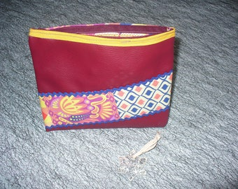 makeup bag in faux leather fabric, Burgundy and blue zig zag Ribbon