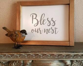Bless Our Nest sign | farmhouse sign | wall decor | gallery | home decor | farmhouse decor