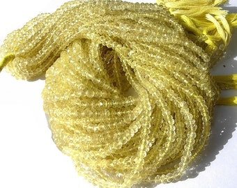 AAA Lemon Quartz Micro Faceted Rondelles 14 Inches Long Strand Size - 3.5mm approx