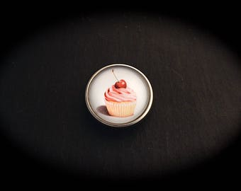Pressure 18mm for jewelry - cherry Cupcake fancy cabochon