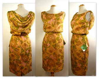60s Chiffon Cocktail Dress XXXS with Hazy Flowers NOS