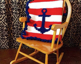 PDF Pattern* crochet or knit nautical anchor baby blanket graphghan pattern, graph only, instant digital download.