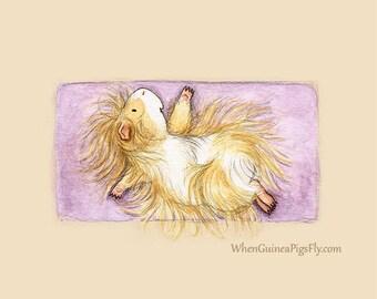 Yoguineas - Reclining Twist - Cute Guinea Pig Yoga Art Print