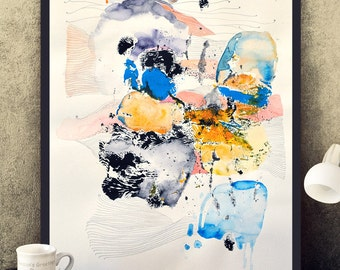 Original abstract painting on paper, black, yellow, navy blue, white modern painting, watercolor, acrylic, pencil 50x70 cm (app. 20x28')