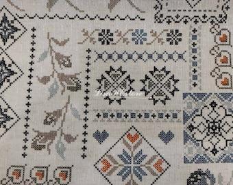 Cross stitch pattern in black, on ecru, 1/2 yard, cotton linen blended fabric