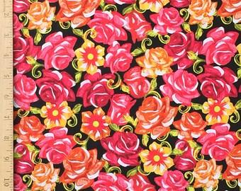 Festive Sugar Skull Rose Fabric, Sugar Skull Roses on Black Cotton Fabric, The Day of the Dead Fabric