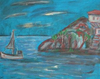 Vintage seascape gouache painting signed