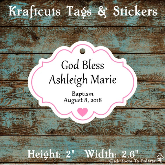 Personalized Favor or Gift Tags - God Bless Baptism Tags with Pink Border #770 - Quantity: 30 Tags