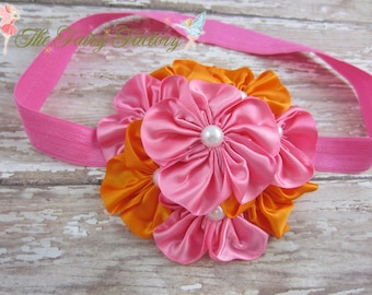 Hot Pink and Orange Flower Headband, Satin Flowers w/ Pearls Hot Pink Headband or Hair Clip, The Grace, Baby Toddler Child Girls Headband