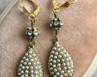 Pearl Teardrops, vintage assemblage earrings, Swarovski crystals, dangle, 2 1/2""