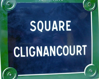 "Paris Street Sign ""Square Clignancourt"" Enamel"