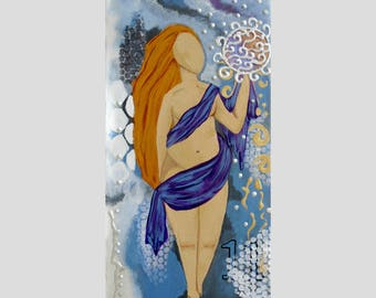 The Abundant Goddess Original Painting 7x14 Goddess Art with Affirmations by Jeanne Fry