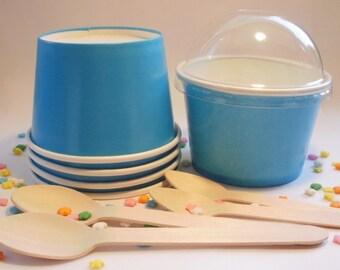50 Blue Ice Cream Cups - Medium 12 oz