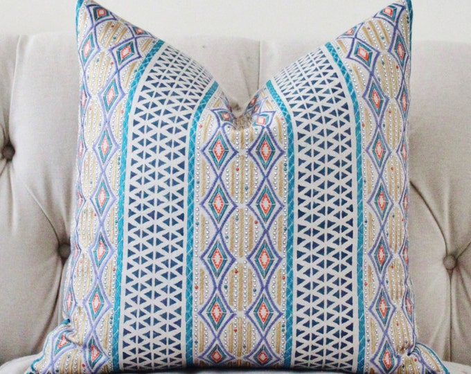 Geometric Pillow -Teal Beige Gold Silver Orange Embroidered Moroccan Block Print Pillow Cover -  Designer High End Pillow - Bohemian Decor