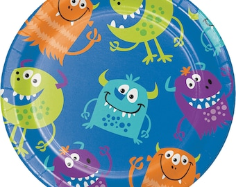 Monster Birthday Party Plates/ Monster Party Plates/ Monster Party/ Small Monster Plates