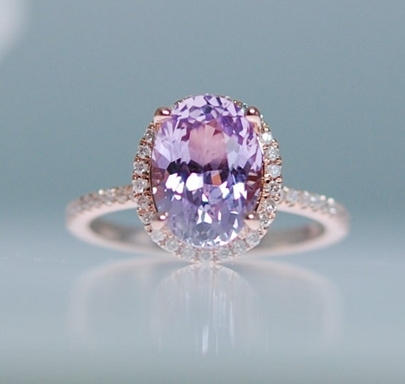 rose il listing champagne engagement peach cushion gold lavender sapphire rings