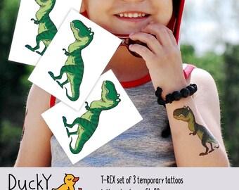 Set of 3 temporary tattoos «T-Rex». Dinosaur kids birthday party favors. Let's Roar! Dino party goodie bags fillers. Tyrannosaurus Rex TT145