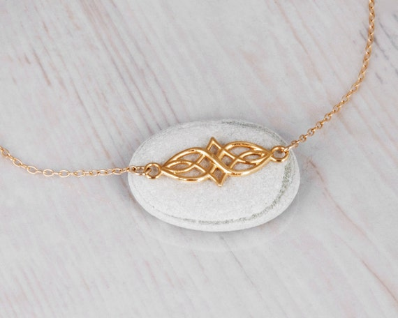 Gold Celtic Necklace Dainty Gold Filled Necklace Layering