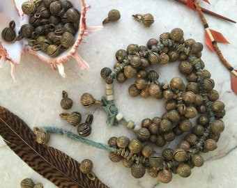 African Brass Jingle Bell Beads, 10 beads, Lost Wax Cast Filigree Beads, Tribal Charms, Mixed Size 9-16mm round x 16-23mm tall