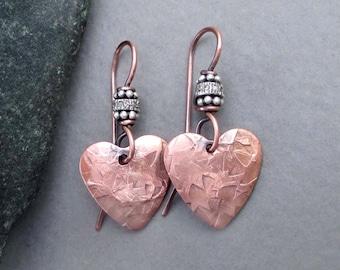 Pave Diamond Earrings Copper Heart Dangle Earrings Genuine Diamond Jewelry Copper Anniversary Jewelry Seventh 7th Anniversary Handmade