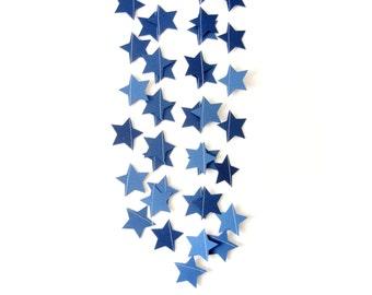 Navy Blue Shimmer Star Garland  - shimmer garland, navy shimmer garland, shimmer stars, blue shimmer wedding, party decor