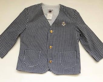 Gingham Collar-less Jacket