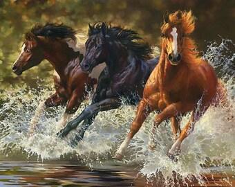 River Run Horses Cross Stitch Pattern***LOOK**