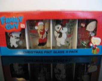 Family Guy Christmas Pint Beverage Glasses Set of 4 New in box